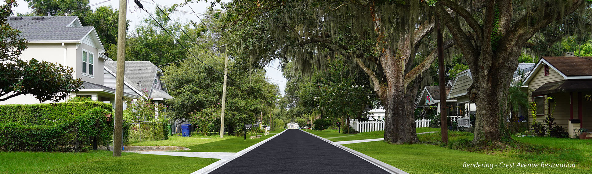 This is a photoshopped imaged to show conceptually what Crest Avenue will look like after construction. It will be repaved with asphalt and have new gutters and curbs.